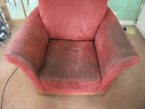 Stained Armachair www.fivestarfurnishingcare.co.uk
